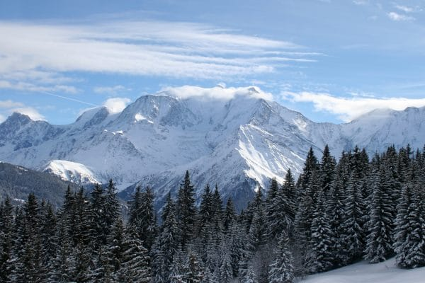 mont blanc and firs as seen from the Mont D'Arbois Evasion ski area near Combloux and Megeve in the Haute Savoie Department of the French Alps